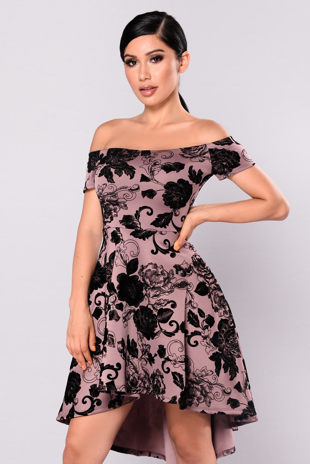 Evalyn Floral Dress - Mauve/Black