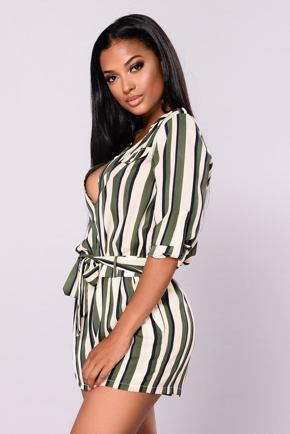 Tea Date Striped Romper - Green