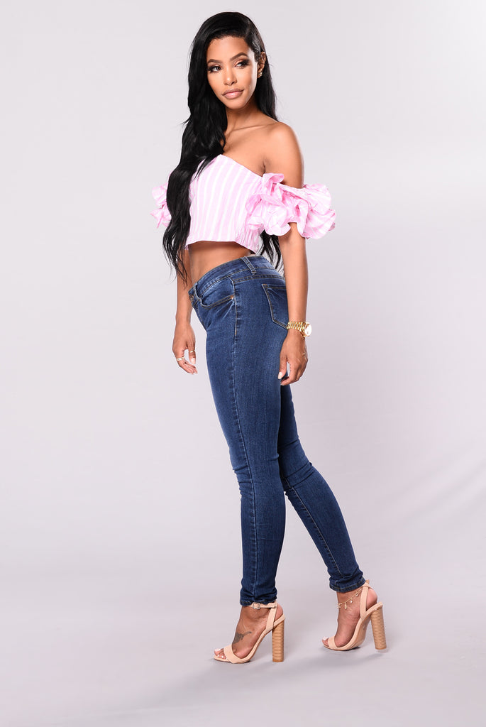 Sassy Lady Striped Crop Top - Pink/White