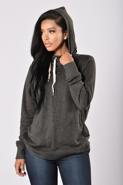 I'm In Control Hooded Top - Charcoal