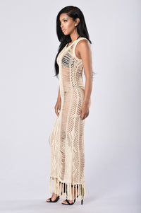 Malibu Beach Cover Up Dress - Beige Angle 3
