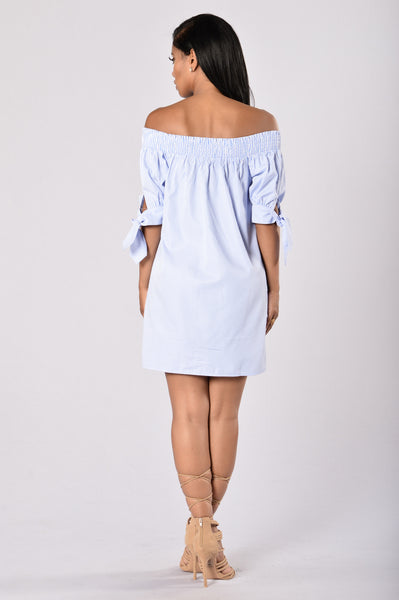 Angel on My Shoulder Dress - Blue/White