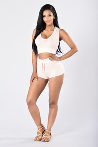 Bring It On Again Shorts - Blush/White Angle 1