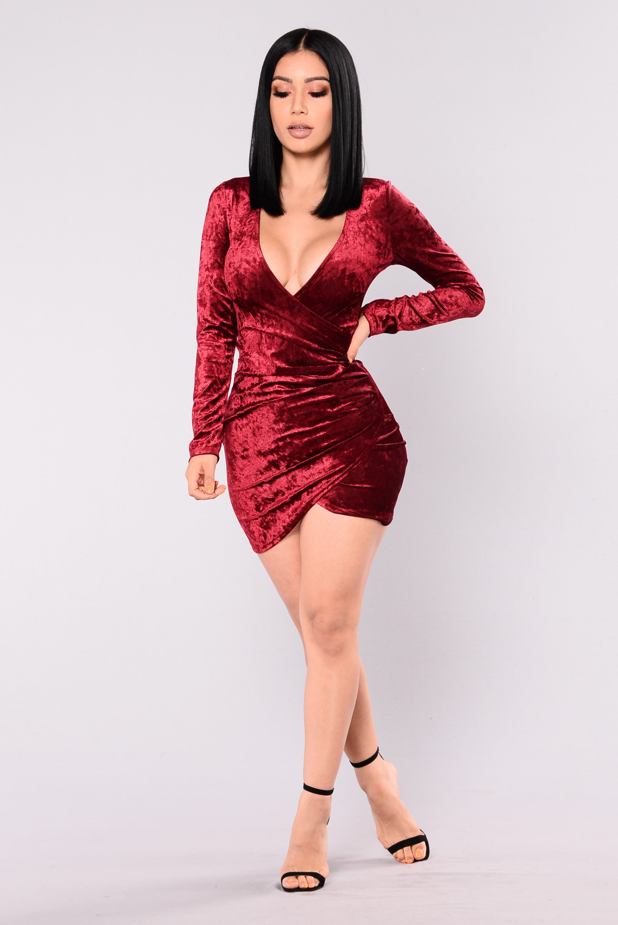 riya crushed velvet dress  burgundy