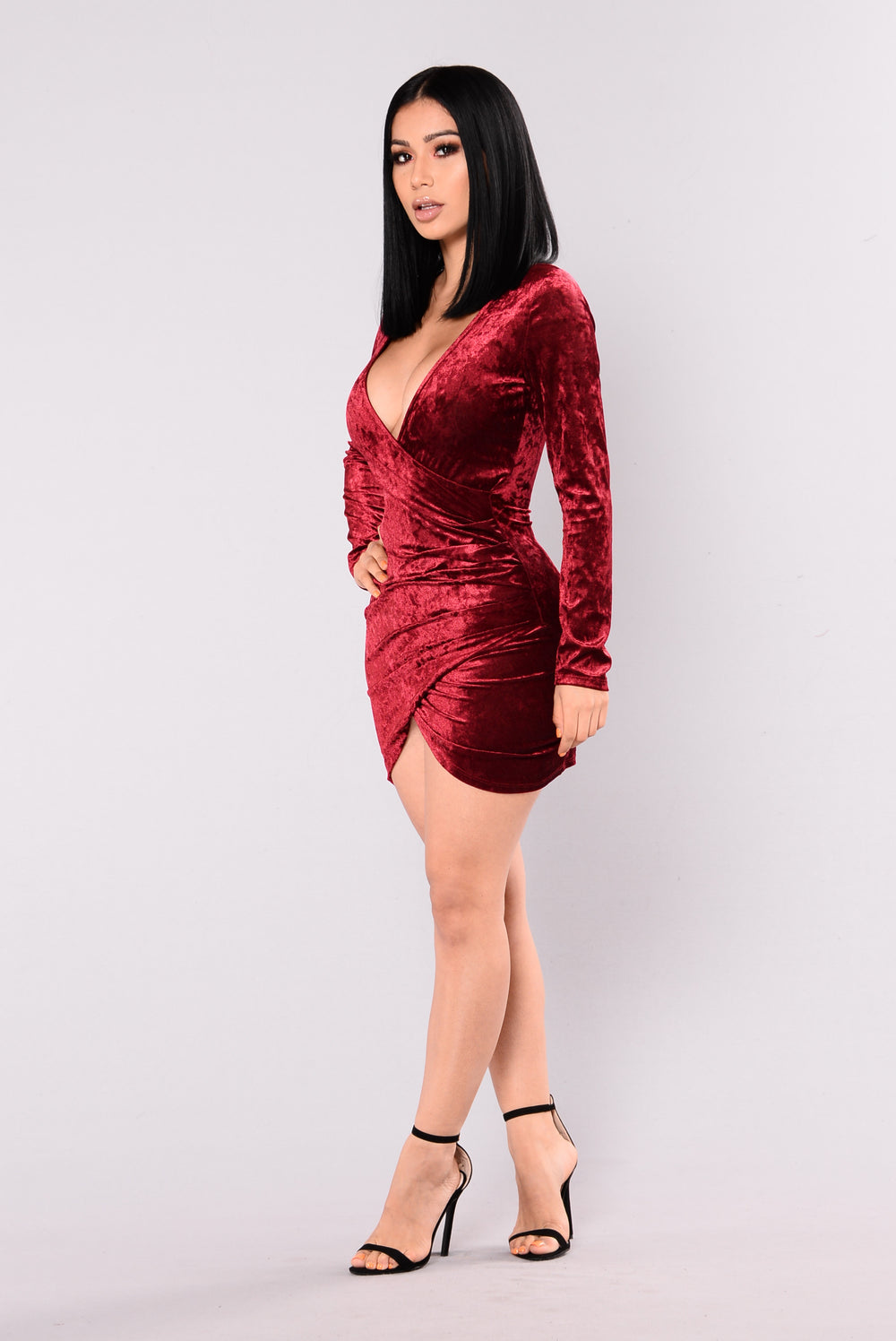Riya Crushed Velvet Dress - Burgundy