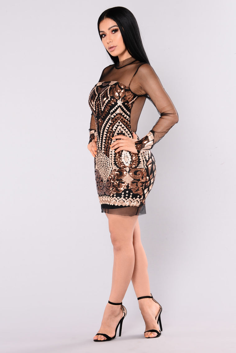 Marquee Sequin Dress - Black