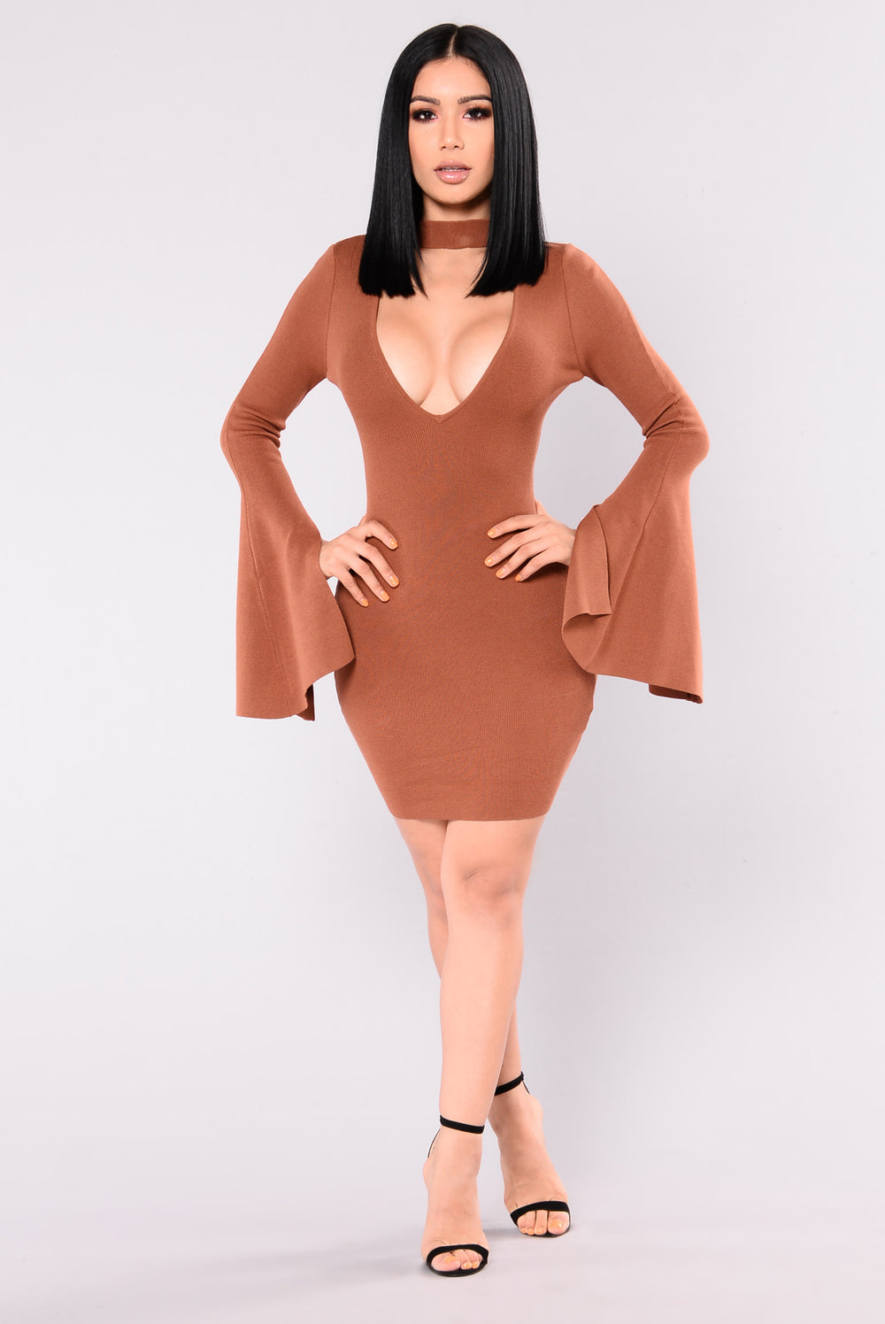 Kaydance Bell Sleeve Dress - Rust