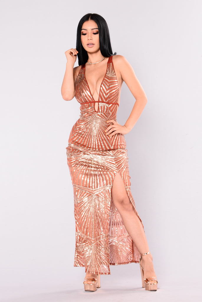 In A Flash Sequin Dress - Rust