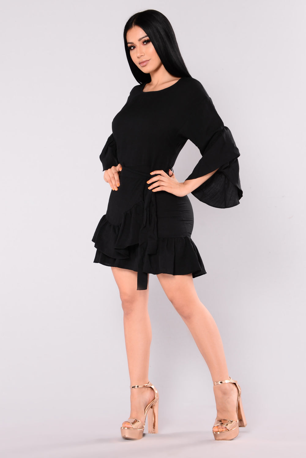 Salsa Club Ruffle Dress - Black