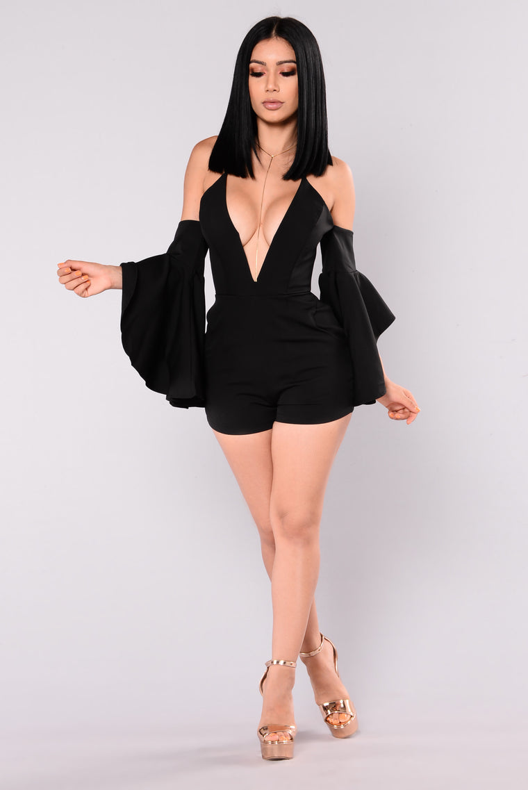 Nasia Cold Shoulder Romper - Black