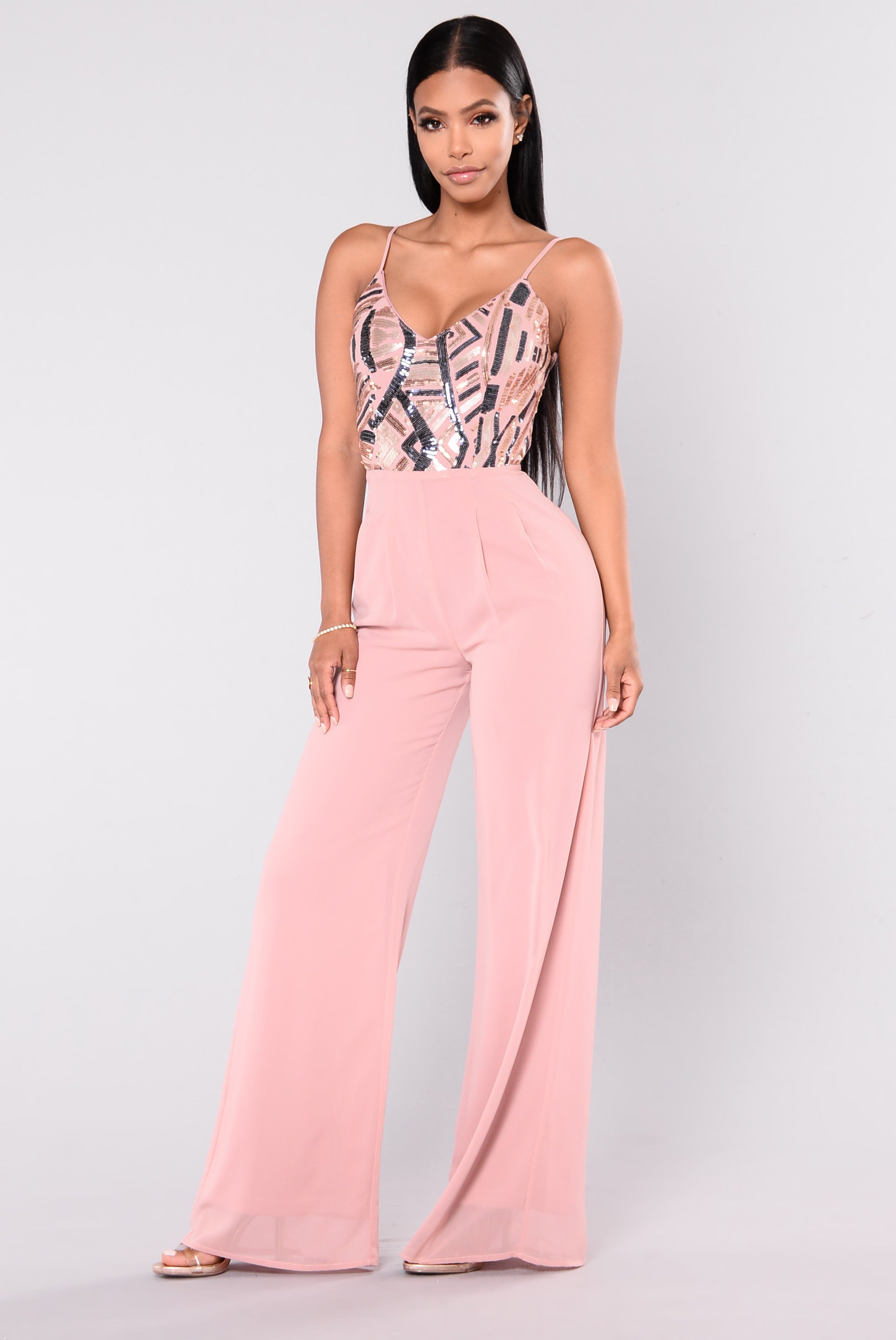 Fashionably Late Sequin Jumpsuit Pink