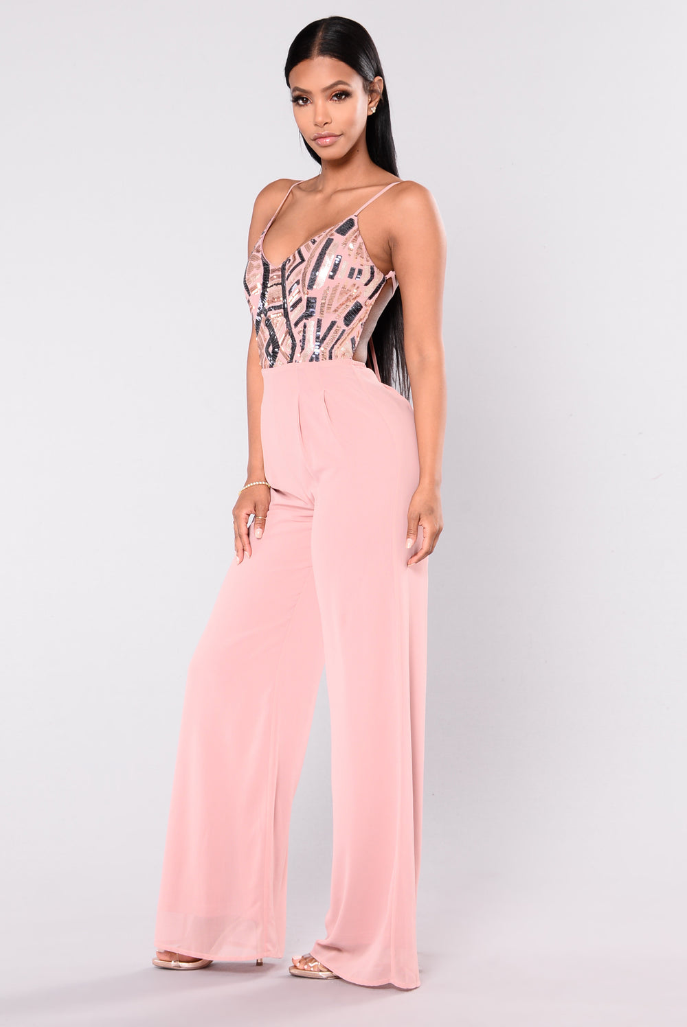 Fashionably Late Sequin Jumpsuit - Pink