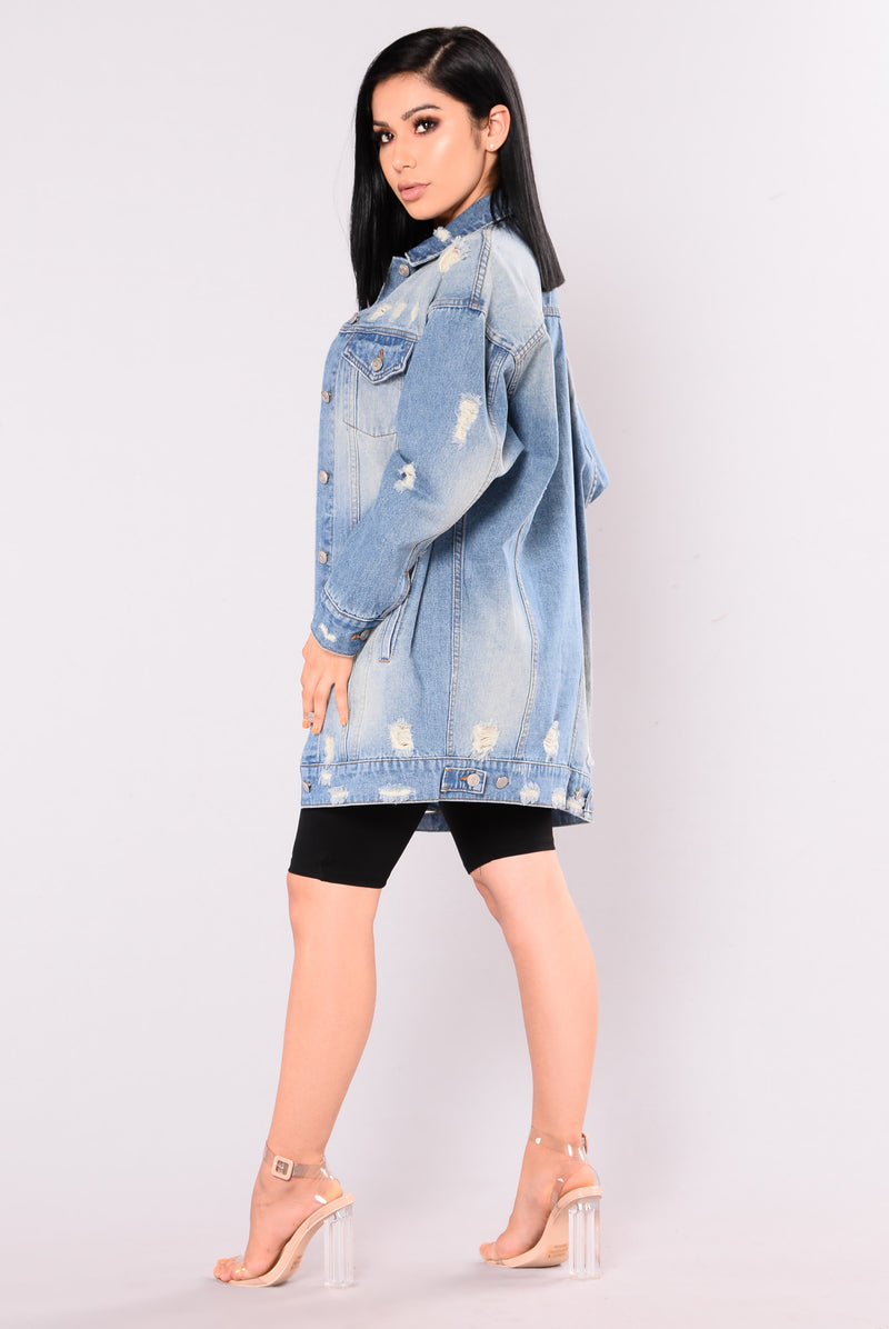 Karlie Distressed Denim Jacket - Medium Wash