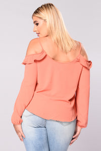 Malina Off Shoulder Top - Terracotta
