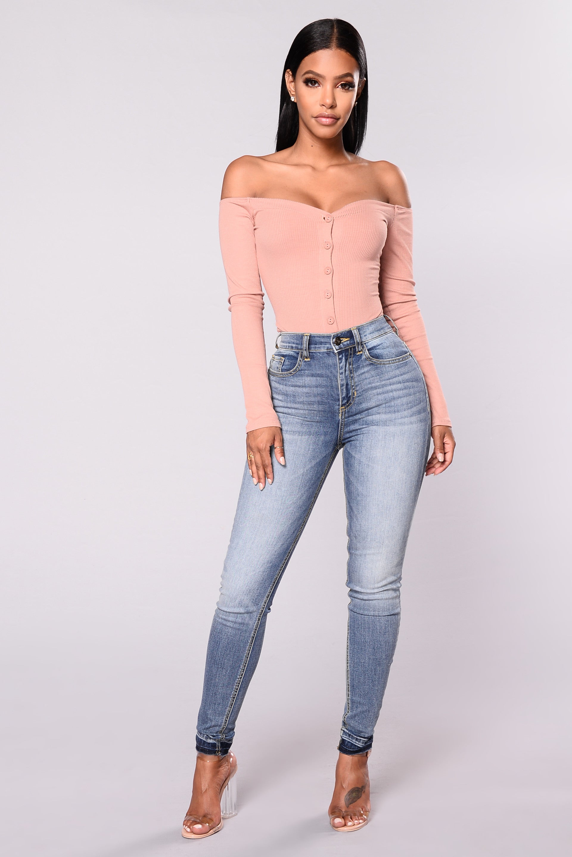 f0e9e77856 Fool In Love Off Shoulder Bodysuit - Mauve
