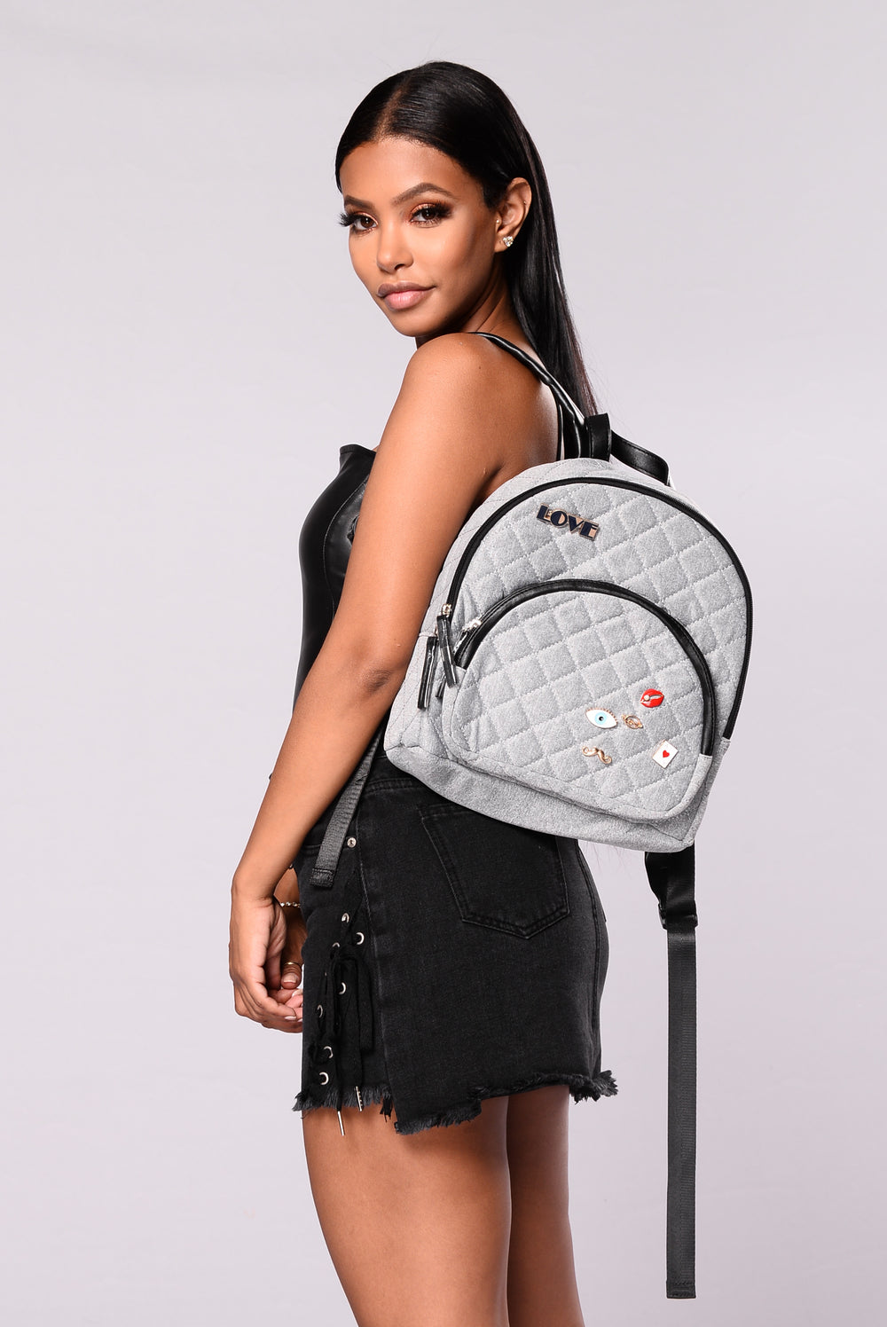 Zea Quilted Backpack - Light Grey
