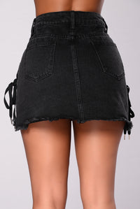 Cobra Denim Skirt - Black