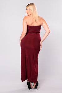 It's A Date Ruched Dress -  Burgundy