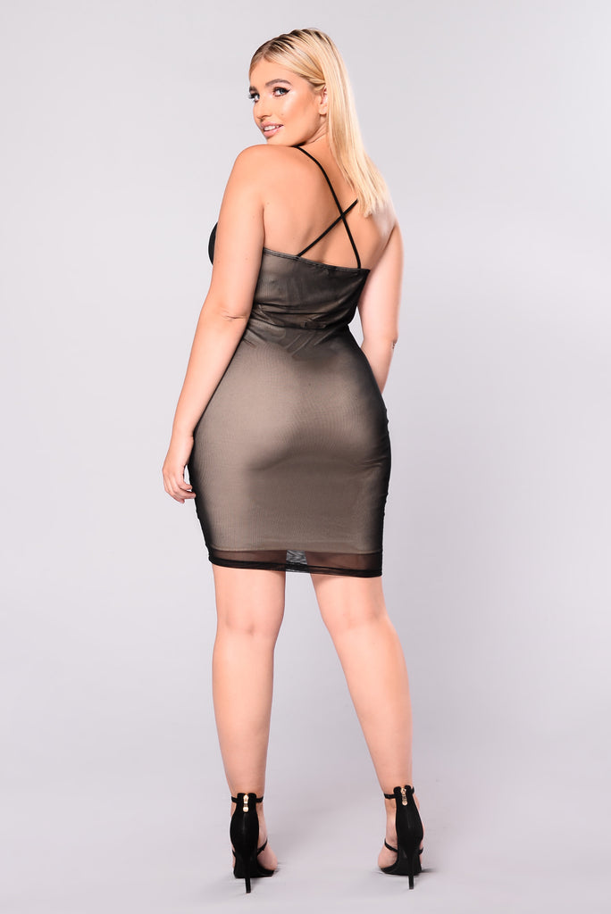 Parisian Night Mesh Dress - Black/Nude