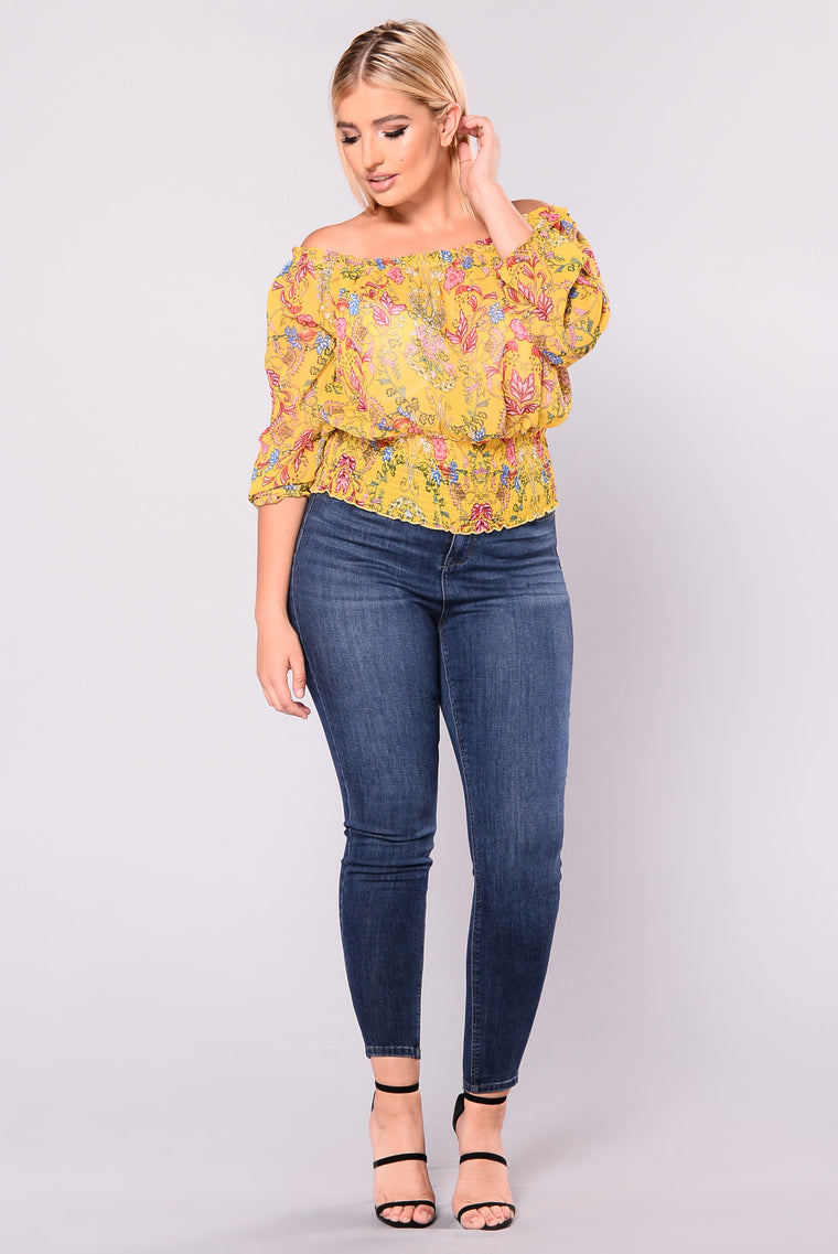 Floral Goddess Off Shoulder Top - Mustard