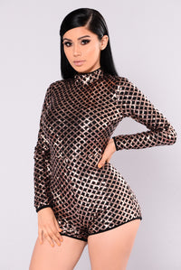 Frost Sequin Romper - Black/Rose Gold