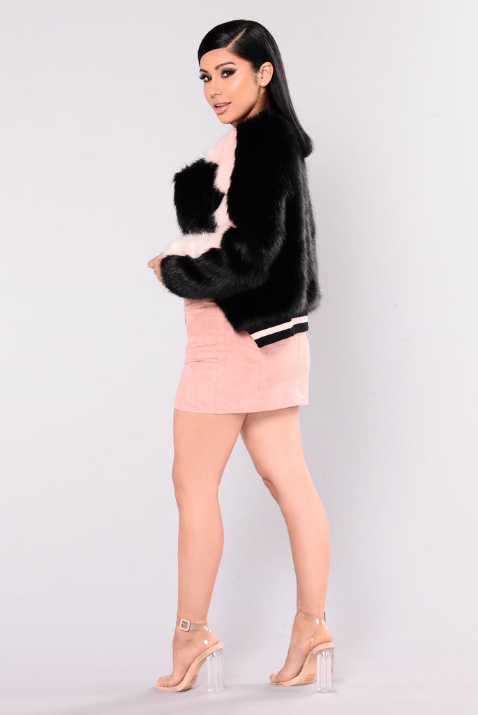 Federica Fur Jacket - Black/Pink