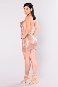 Start The Show Sequin Dress - Rose Gold