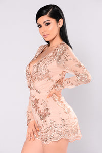 Glitter In The Air Romper - Rose Gold