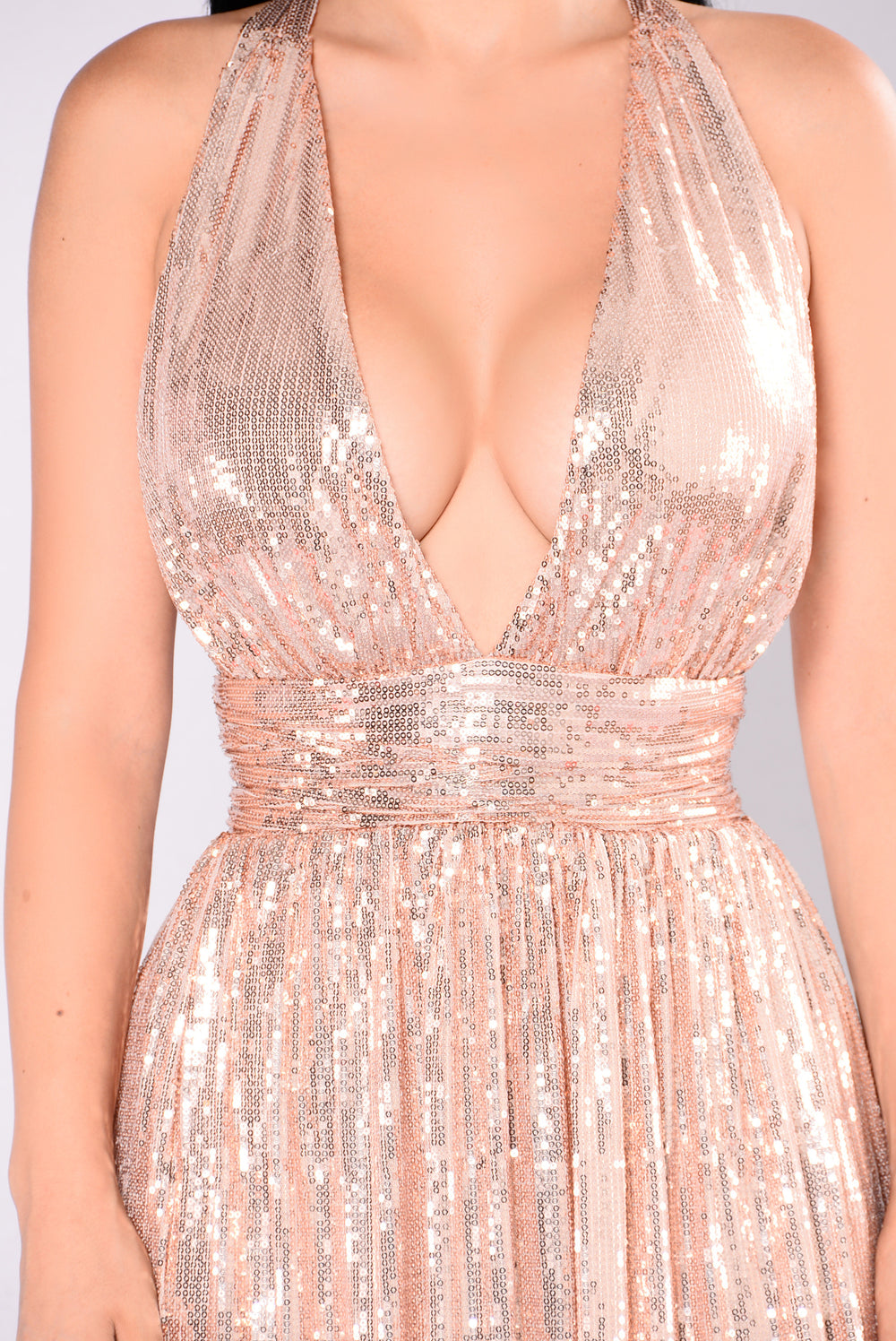 Go Glam Sequin Maxi Dress - Rose Gold
