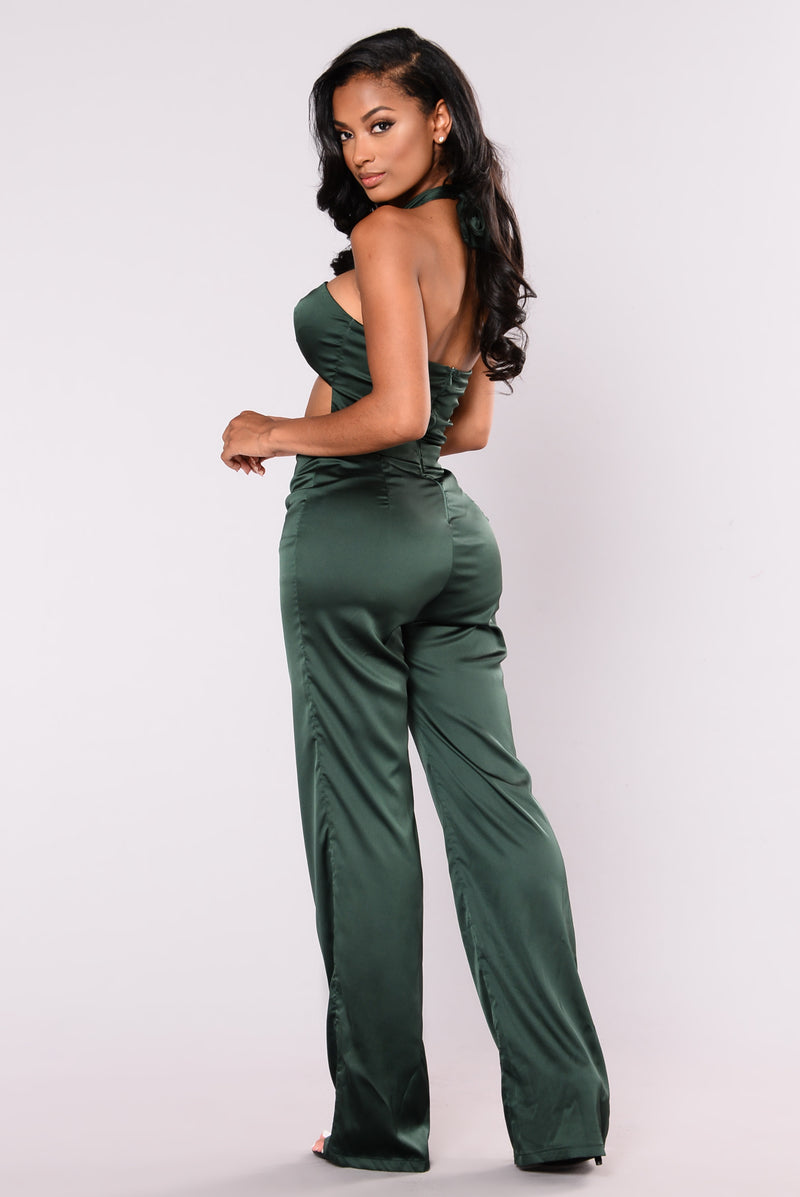 Plus One Satin Jumpsuit - Green