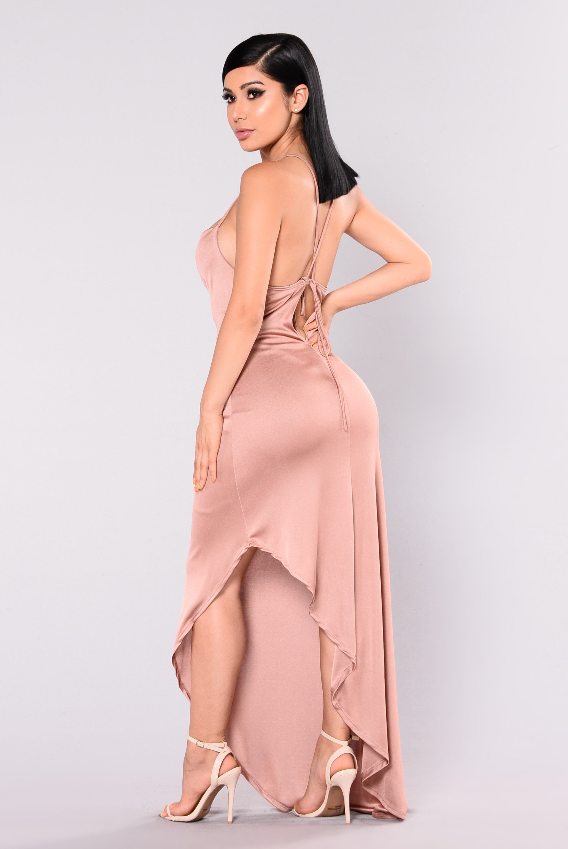 Pink and gold maxi dress
