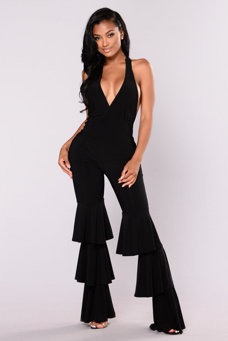 Too Hot To Handle Ruffle Jumpsuit - Black