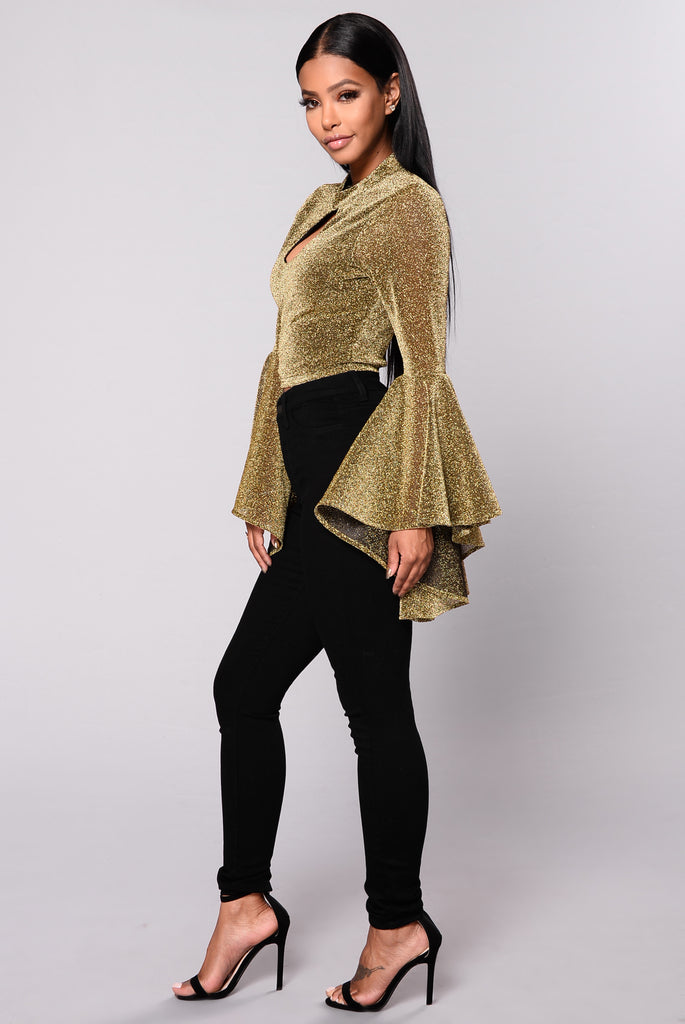 Roll The Dice Glitter Top - Gold