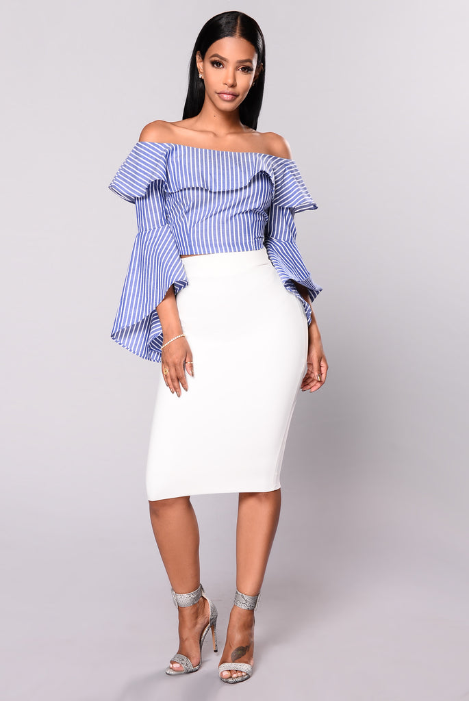 Carter Crop Top - Blue/White