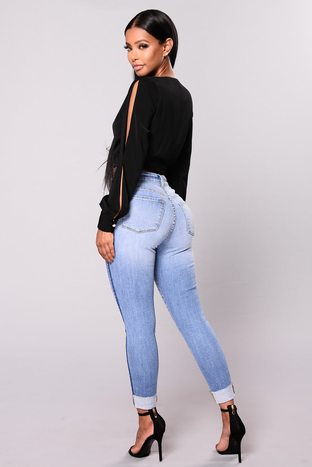 Annie Distress Jeans - Medium Blue