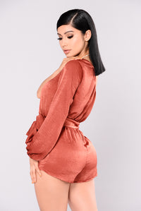 Micah One Shoulder Romper - Rust