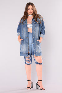 Fomo Oversized Denim Jacket - Medium
