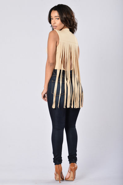 Fringe For Days Bodysuit - Sand