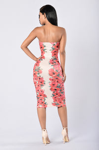 Flower Frenzy Tube Dress - Taupe