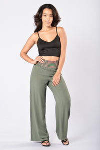 Easy Lazy Day Pants - Olive Angle 2