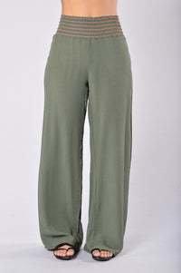 Easy Lazy Day Pants - Olive Angle 1