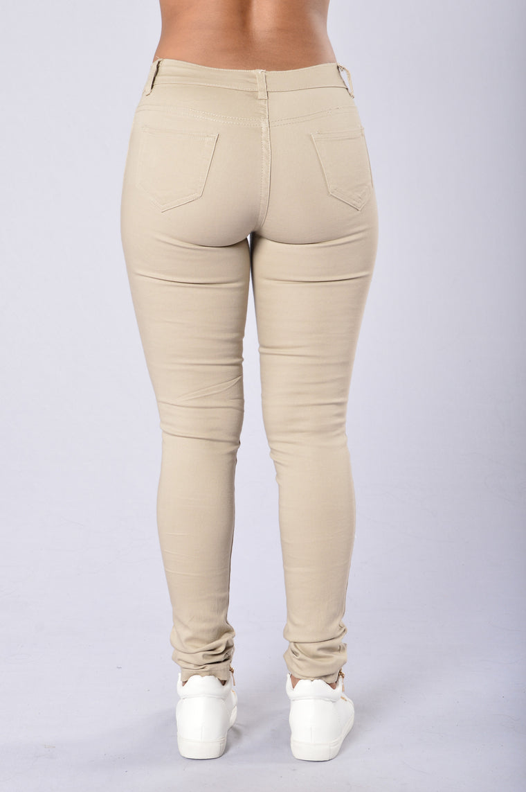 Skinny Uniform Pants - Khaki-8836