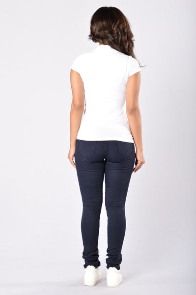 Skinny Uniform Pants - Navy