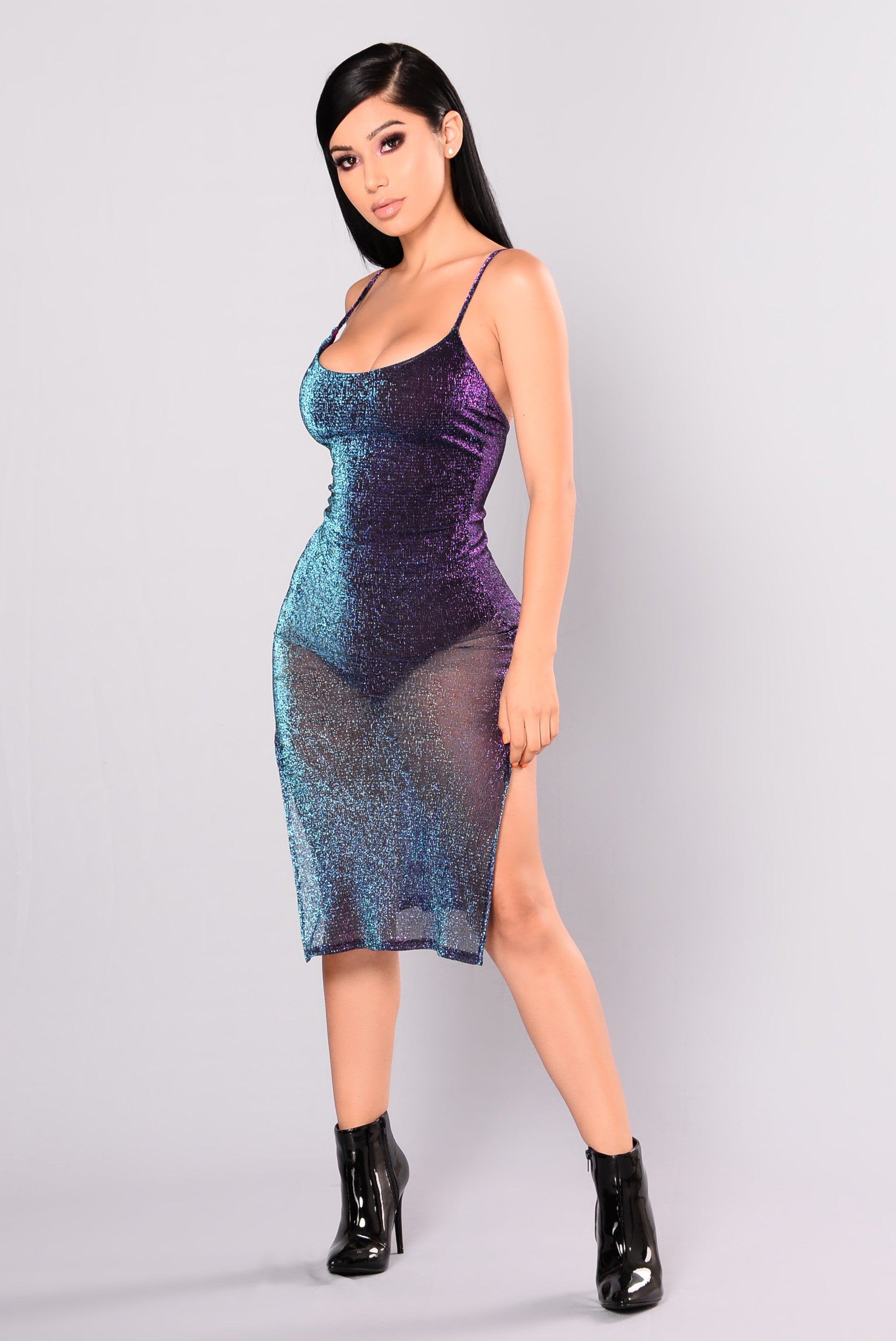 catherine metallic dress  purple multi