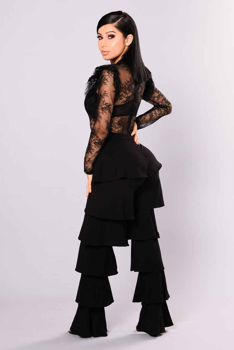 Broken Clocks Ruffle Jumpsuit - Black