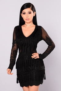 Main Street Fringe Dress - Black