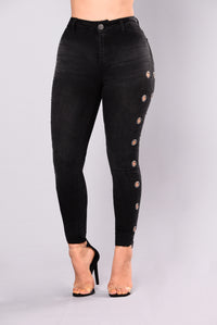 All Or Nothing Grommet Jeans - Black