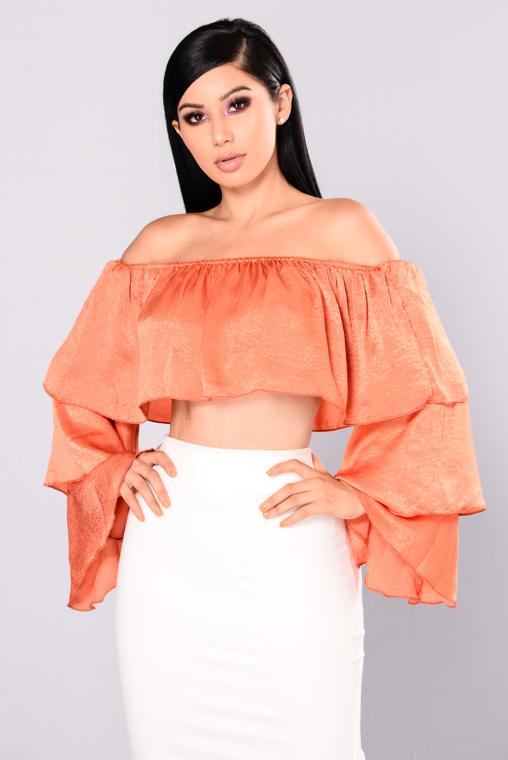Ruff Around Ruffled Top - Rust