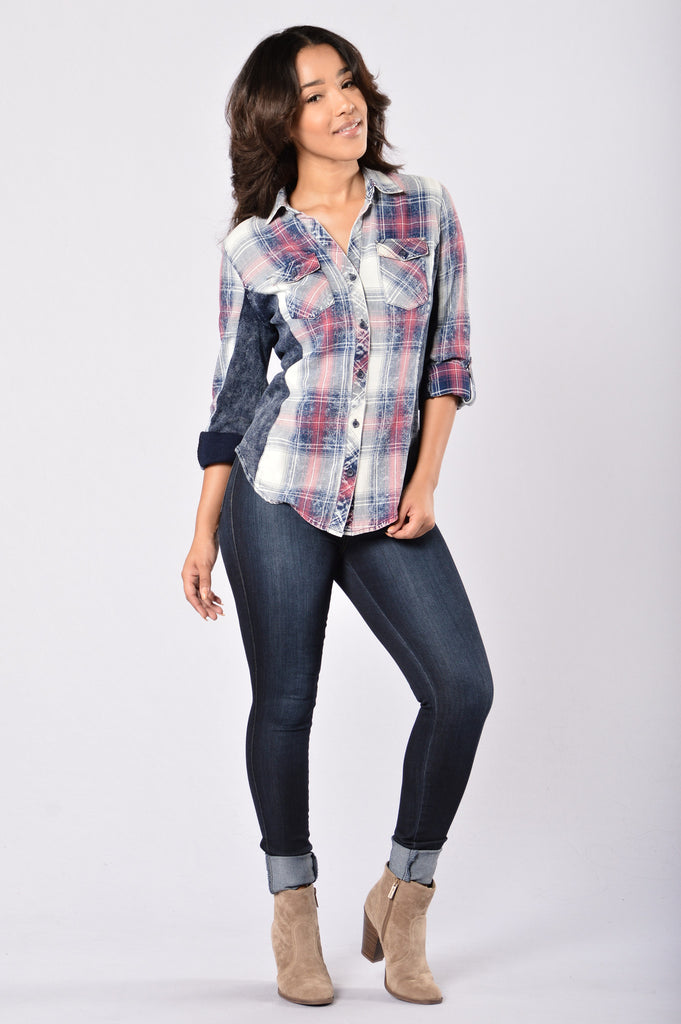 Favorite Flannel Top - Pink Indigo