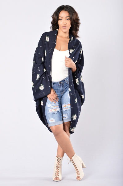 Fall For You Kimono - Navy